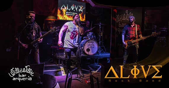Alive Rock Band com cassic rock animando a noite no Willi Willie Bar