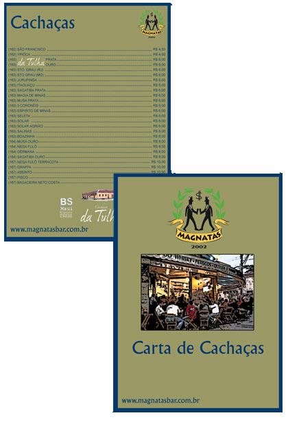 Carta de Cachaça Magnatas Bar