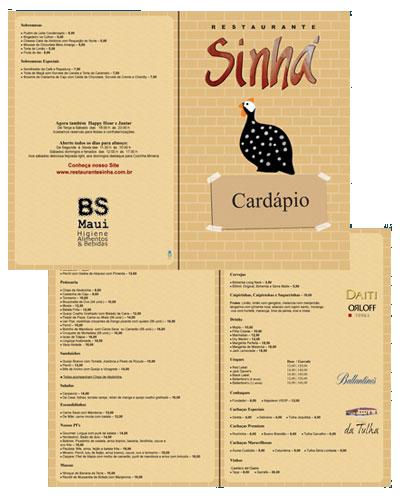 Cardápio Restaurante Sinhá