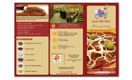 Folder impresso San Pietro Pizzaria Br3 Site sites cases image