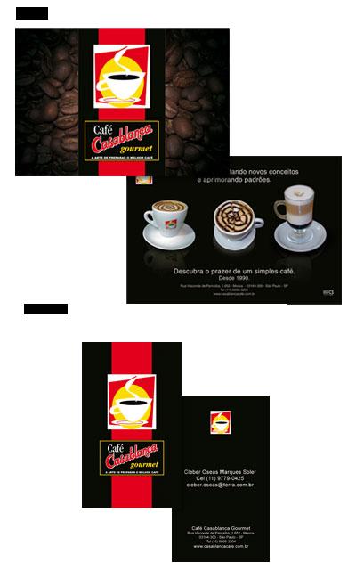Flyer e Cartão de visita Café Casablanca Gourmet Br3 Site sites cases image