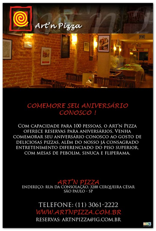 E-mail Marketing Aniversário Art´n Pizza