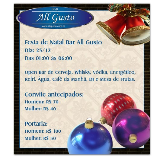 E-mail marketing festa de Natal All Gusto.