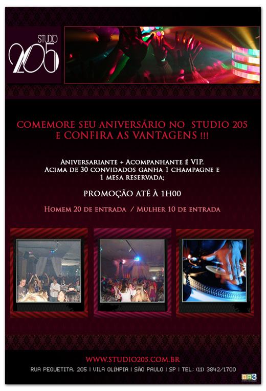 E-mail marketing de aniversário Studio 205