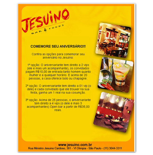 E-mail marketing de aniversário Jesuíno Bar