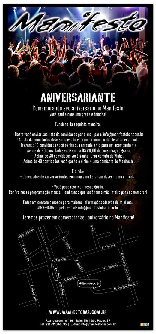 E-mail marketing de aniversário Manifesto Bar