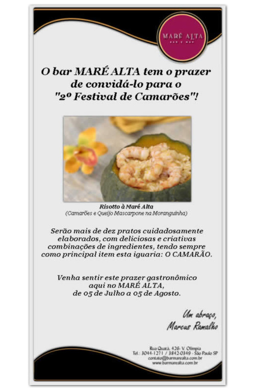 E-mail Marketing Maré Alta Bar e Mar