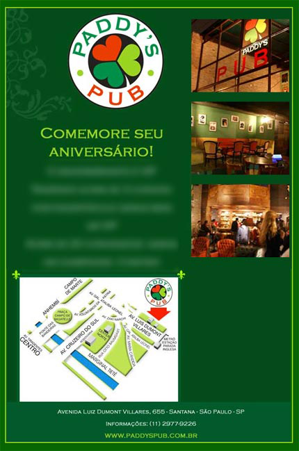 E-mail marketing de aniversário Paddy´s Pub