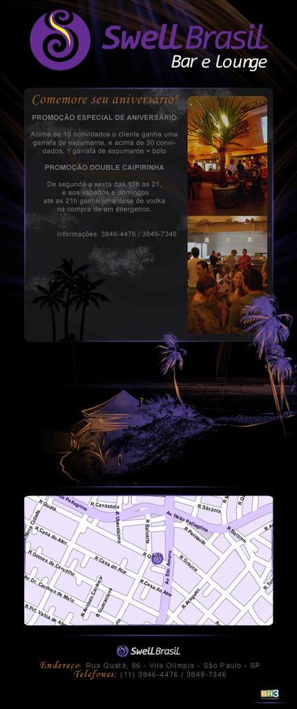 E-mail marketing de aniversário Swell Brasil Lounge.
