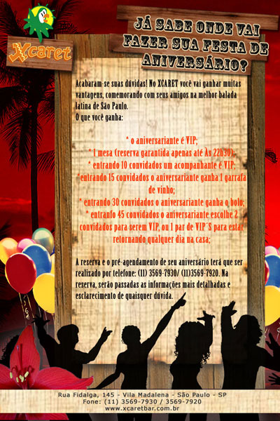 E-mail marketing de aniversário Xcaret Bar.