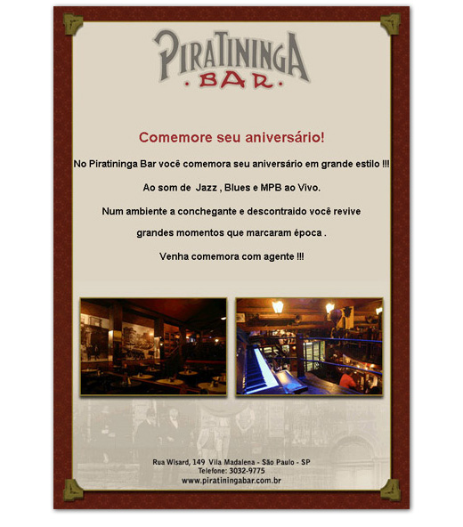 E-mail marketing de aniversário Piratininga.