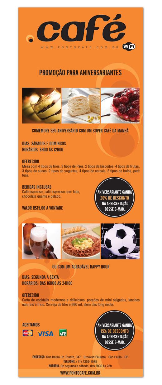 E-mail marketing de aniversário Ponto Café