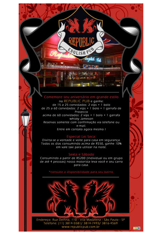 E-mail marketing de aniversário Republic Pub.