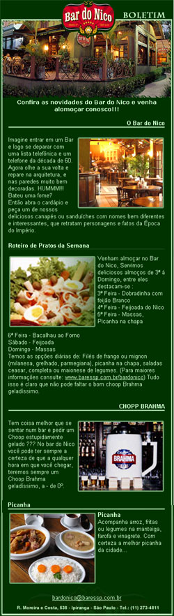 E-mail Marketing do Bar do Nico Br3 Site sites cases image