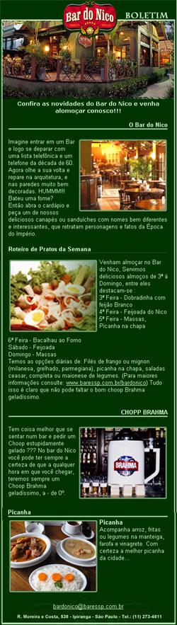 E-mail Marketing do Bar do Nico