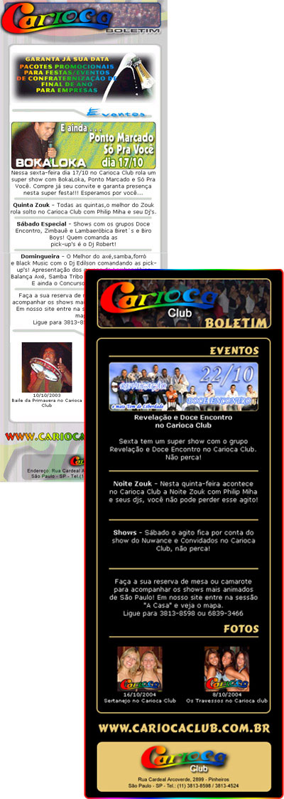 E-mail Marketing do Carioca Club Br3 Site sites cases image