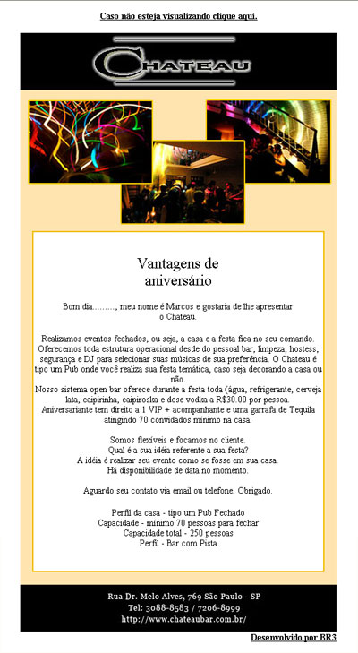 E-Mail Marketing de Aniversário do Chateau Bar