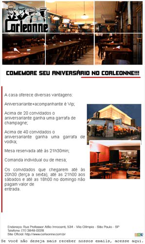 E-mail marketing de aniversário do Corleonne Bar