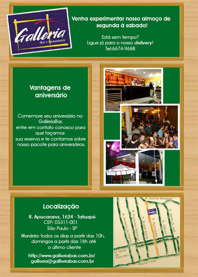 E-mail Marketing de Aniversário do Galleria bar
