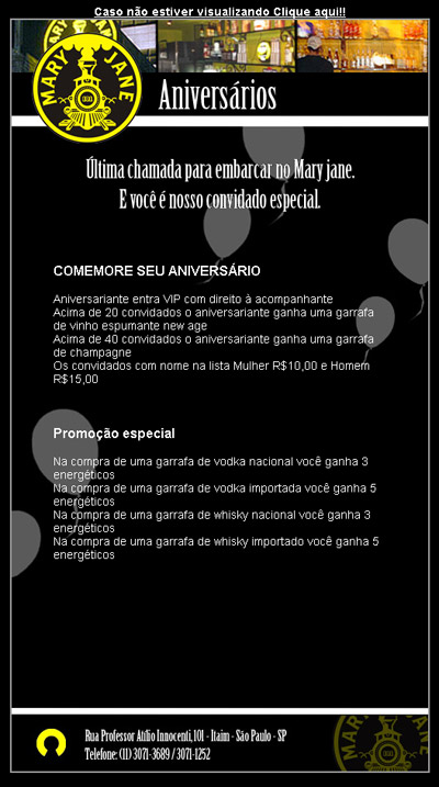 Email Marketing do Mary Jane de aniversário