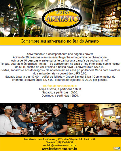 E-mail marketing de aniversário Bar do Arnesto