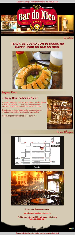 E-mail marketing Bar do Nico