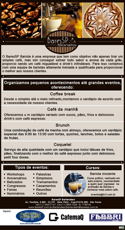 E-mail marketing institucional BaresSP Barista Br3 Site sites cases image