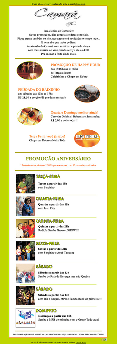E-mail marketing Camará Bar