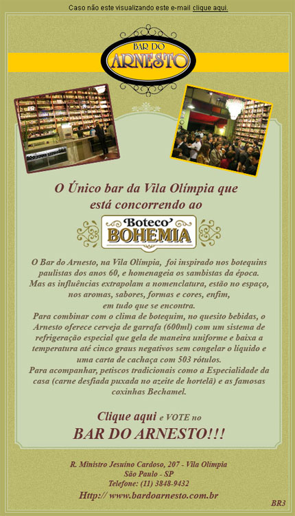E-mail marketing Boteco Bohemia - Bar do Arnesto