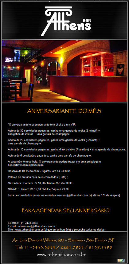 E-mail marketing de aniversário Athens Bar Br3 Site sites cases image