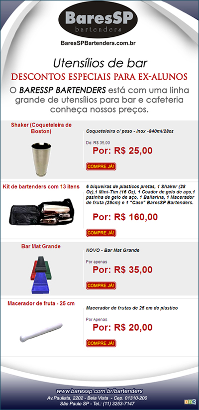 E-mail marketing de Produtos - BaresSP Bartenders