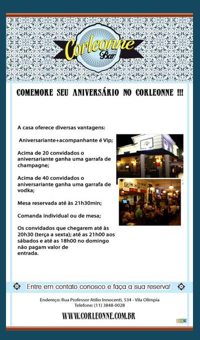 E-mail marketing de Aniversário Corleonne