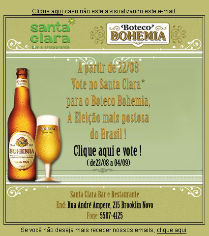 E-mail marketing Boteco Bohemia -  Santa Clara