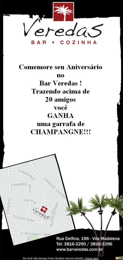 E-mail marketing de aniversário - Bar Veredas