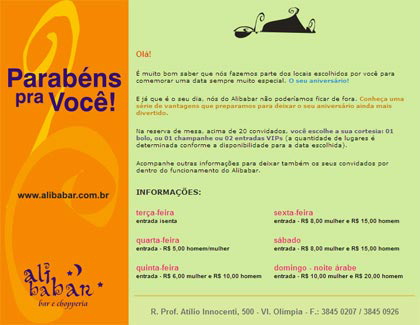 E-mail marketing de aniversário Alibabar