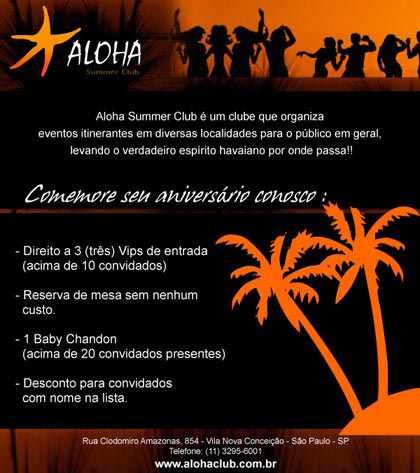E-mail marketing de aniversário Aloha