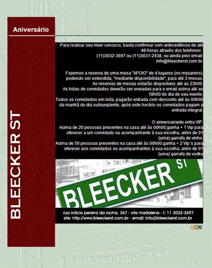 E-mail marketing de aniversário Bleecker