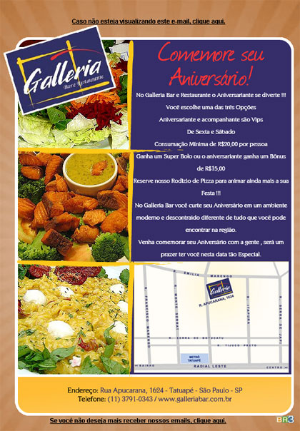 E-mail marketing de aniversário Galleria Bar.