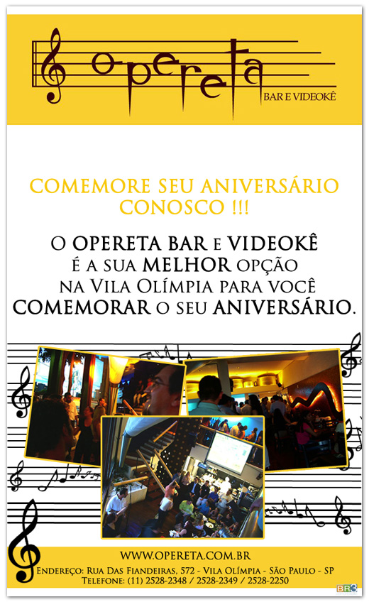 E-mail marketing de aniversário Opereta