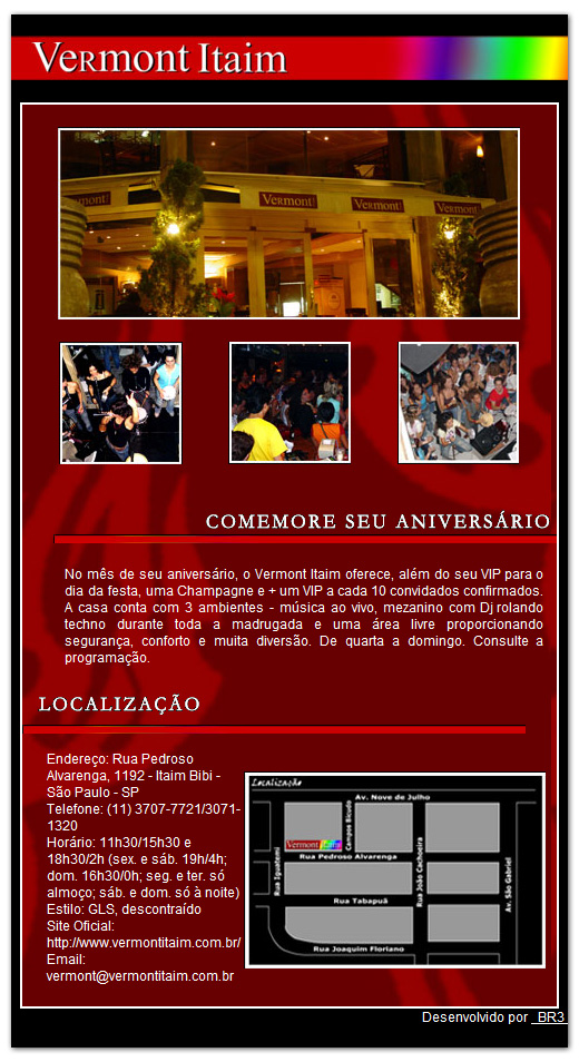 E-mail Marketing de Aniversário do Vermont Itaim
