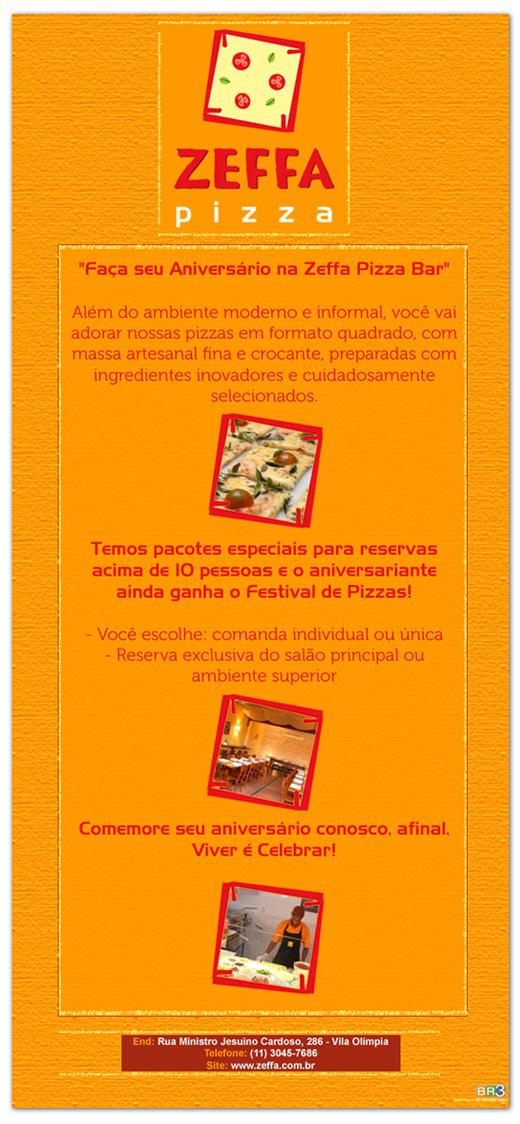 E-mail marketing de aniversário Zeffa Pizza