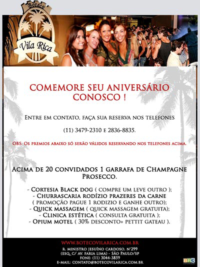 E-mail marketing de aniversário - Boteco Vila Rica.