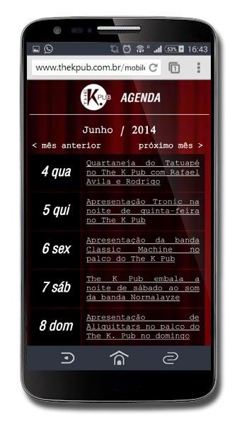 Site mobile do The K Pub