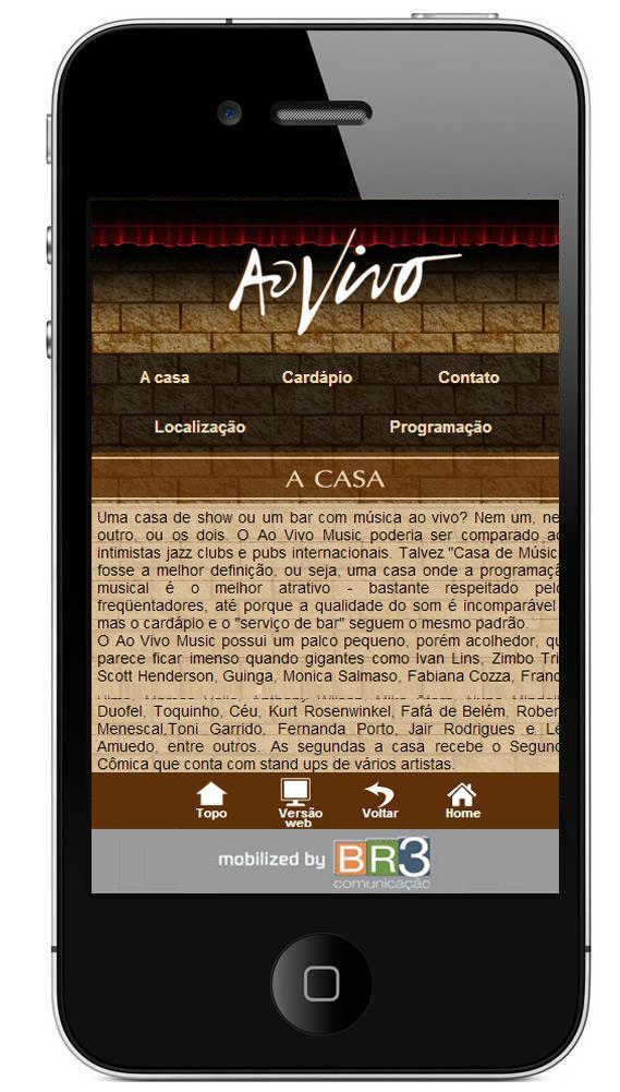 Site mobile do Bar Ao Vivo