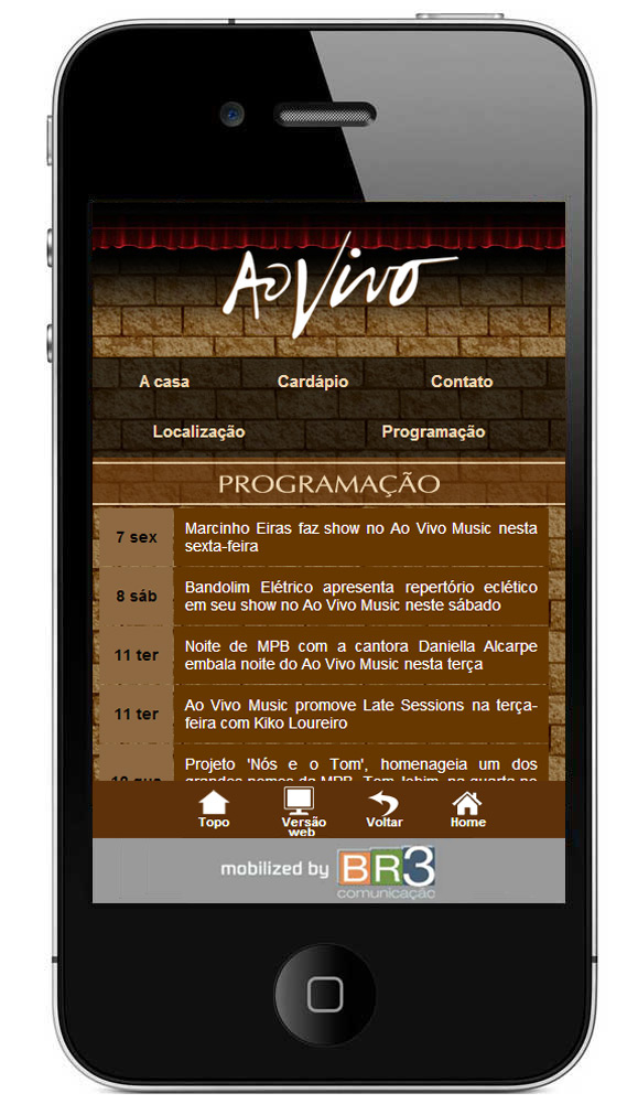 Site mobile do Bar Ao Vivo