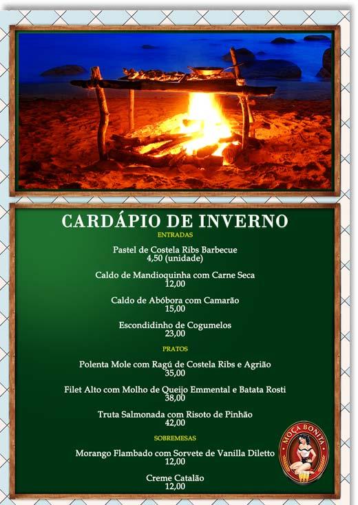 Cartaz Moça Bonita Bar - Cardápio de Inverno