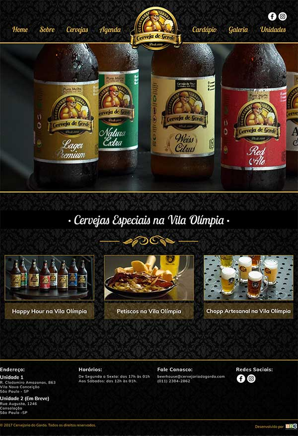 Site Cervejaria do Gordo