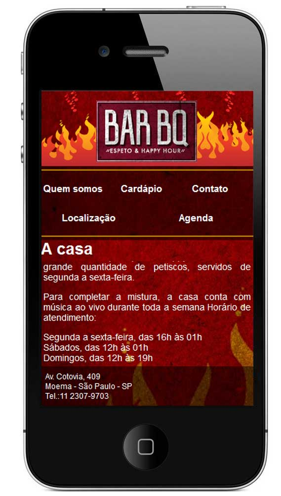 Site mobile do Bar BQ