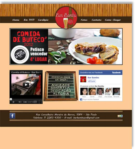Layout do site Bar Bambu Br3 Site sites cases image