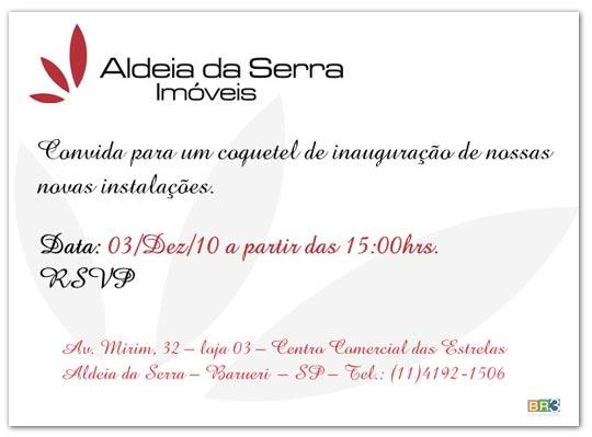 Convites de Inauguração Aldeia da Serra
